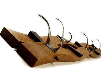 Solid Oak and Walnut, Wedge coat rack