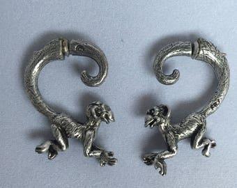Silver Tone Monkey Earrings