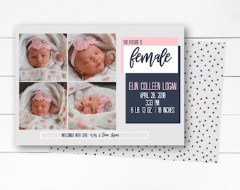 The Future is Female Birth Announcement, Girl Birth Announcement, Female Birth Announcement, Photo Birth Announcement, DIY or Printed
