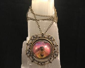 Honey Bee Filigree Pendant Necklace