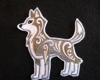 Embroidered Wolf Iron On Patch, Wolf Patch, Iron On Patch, Wolf Applique, Iron On Applique, Wolves, Wolf