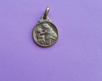 Religious antique French gold plated/vermeil catholic medal pendant of Saint Christopher.