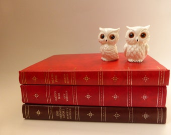 SALE: Vintage Book Stack in Reds & Brown ~ The Companion Book Club ~ Vintage Library ~ Vintage Decor ~