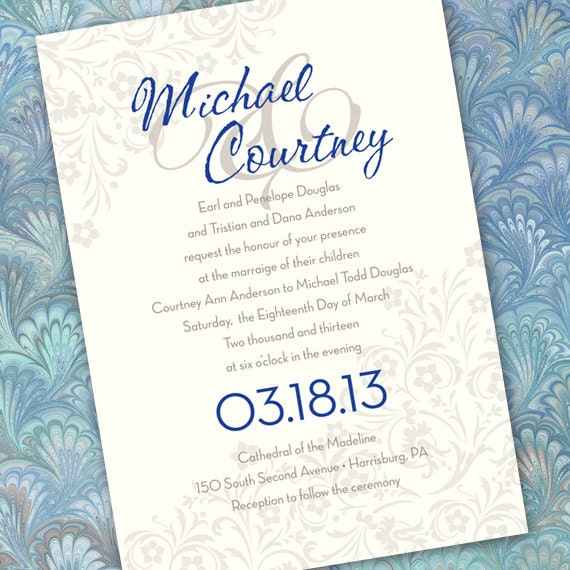 wedding invitations silver wedding invitations cobalt