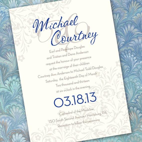 wedding invitations, silver wedding invitations, cobalt wedding invitations, wedding package, save the date, bridal shower invitations IN166