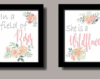 Roses and Wildflower Wall Art