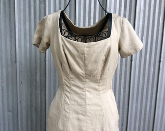 Vintage day dress from the 40's - silk crepe dress - Audrey Hepburn style