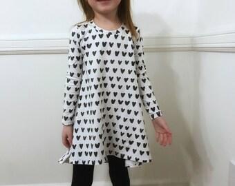 Heart high low dress toddler girls