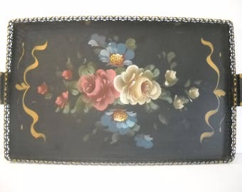 Painted Flowered Tole Tray with Raised Reticulated Rim