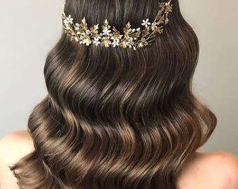 EMELIA   Gold bridal hairpiece, vintage bridal comb, bridal hair accessories, floral wedding hairpiece, wedding hair accessories