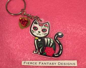 Day of the Dead Clear Acrylic Cat Keychain