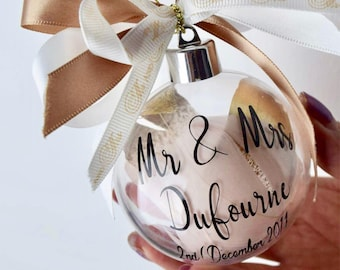 Personalised Mr & Mrs Bauble, First Christmas As Mr and Mrs, Christmas Wedding Gift, Wedding Favour, Christmas Bauble, Gift For Couple