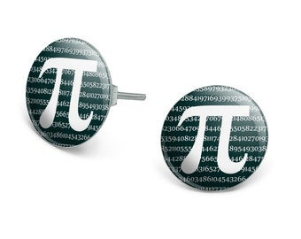 Pi math geek nerd 3.14 novelty silver plated stud earrings