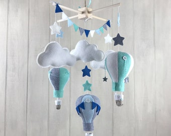 Baby mobile - balloon mobile - travel theme - hot air balloon mobile - star mobile - cloud mobile - gender neutral - nursery decor