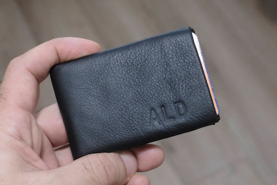 Mens Wallet, Minimalist Walle, Leather Wallet, Engraved Wallet, Groomsman Wallet, Monogram Wallet, RFID Blocking Wallet