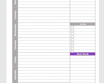 Printable Letter Size Weekly Planner with Monday Start