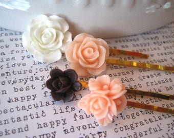 Bobby Pin Set, 4 White, Peach and Chocolate Flower Golden Hair Pins, Weddings, Bridesmaid Gift, Gift for Women, Stocking Stuffer, Small Gift