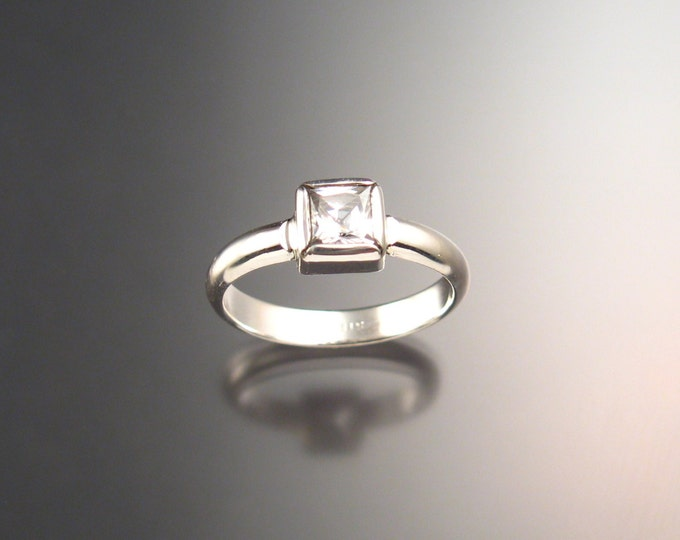 White Cubic Zirconium ring in Sterling silver handmade CZ ring made to order in your Size
