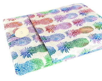 """Women's Laptop Sleeve 15.6"""" - Custom Sized To Your 15 Inch Laptop - Padded With Pocket, Cute Pineapple Fabric"""