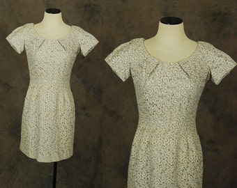 vintage 50s Cocktail Dress - Gray Embroidered Linen Dress 1950s Embroidered Cutwork Wiggle Dress Sz S