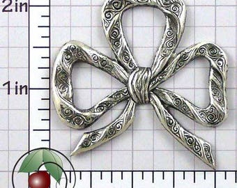 Bow Finding, Bow Stamping, Bow Decoration, Vintage Bow, Bow Embellishment, Silver Ox Plated Brass, 2 Pcs, 1450so2