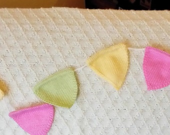 Hand knitted decorative bunting