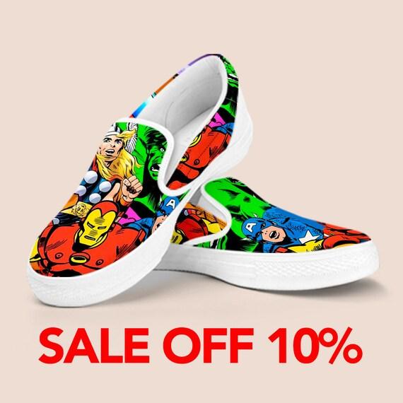 On on War Shoes Vans Superhero Marvel Shoes Slip Man Iron Custom Custom Avengers America Captain Slip Shoe Comics Shoes Infinity Marvel WR5q7nnw0