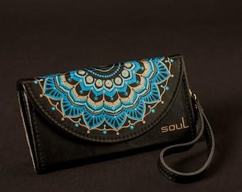 Wallet women. Womens leather wallet. Black leather wallet. Original wallet. Big leather wallet. Handmade. Painting. Mandala. FREE SHIPPING!