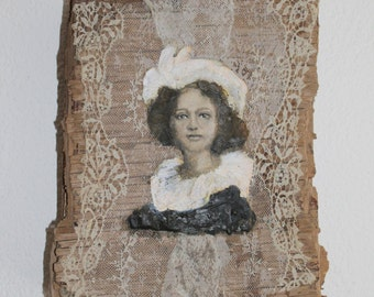 Driftwood wall art, Renaissance woman painting, encaustic Fayum on lace and wood with a picture of a young woman
