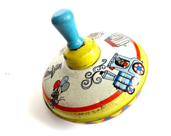 vintage Ohio Art top circus train animals spinning vintage kid's toy antique kids toy antique circus toy spinner tin toy antique tin toy