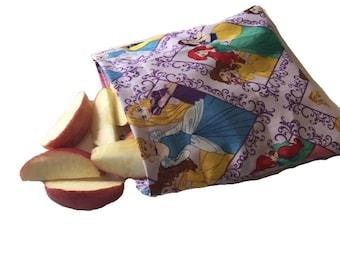 Disney Princess, Reusable Snack Bags, Washable, Waterproof, Eco Friendly, Snack Bag, Sandwich Bag, Zero Waste, Kids Bag, Back to School