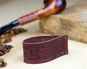 Leather Pipe Stand Rack - Holder Rest for Tobacco Smoking Pipe - Handmade