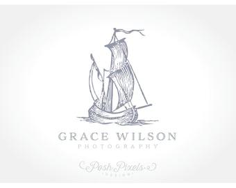 Logo Design (Premade) Ship logo, Photography logo, Business logo, Nautical logo, Sail logo, Vintage logo, Elegant logo, Hand drawn logo