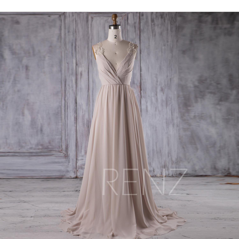 Cream chiffon bridesmaid dress deep v neck wedding dress zoom ombrellifo Gallery