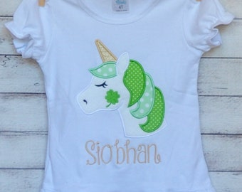 Personalized St. Patrick's Day Unicorn with Shamrock Applique Shirt or Bodysuit Girl or Boy