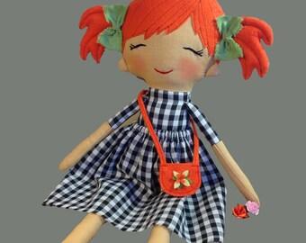 OOAK cloth doll rag doll stuff doll soft doll heirloom custom doll fabric doll textile doll for girl plush doll nursery decor baby girl gift