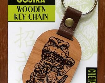Maneki-Neko Good Luck Gojira- Wooden Keychain- Laser Etched Cherry Wood- Lucky Talisman