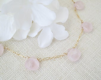 Rose quartz gemstone necklace, Simple pink wedding necklace, Blush and gold bridal necklace, Unique pink necklace, Mother of Bride jewelry