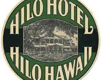 Vintage Style Hilo Hotel Big Island Hawaii    1950's   Travel Decal sticker