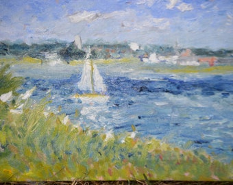 Oil painting,landscape painting,landscape art,Original Painting,Marine Painting,Painting,Impressionist  Painting Of The River Deben Suffolk