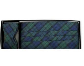 Black Watch Plaid Cummerbund and Self-tie Bow Tie