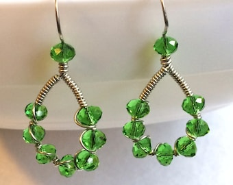 Wire wrapped green hoops