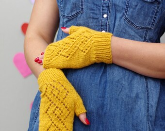 Fingerless gloves, knit lace gloves, gloves for women, yellow wool mittens, fingerless mittens, gloves women, knitted mittens, hand warmers