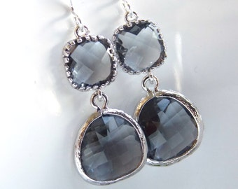 Gray Earrings, Glass Earrings, Charcoal Earrings, Grey Silver Earrings, Bridesmaid Earrings, Bridal Jewelry, Bridesmaid Gifts