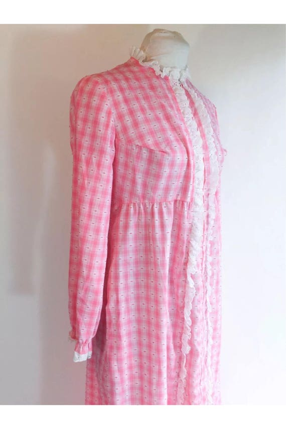 Vintage Lanz of Salzburg Pink Gingham & White Eyelet trim Nightgown Robe Maxi Dress Lounge Wear size Medium