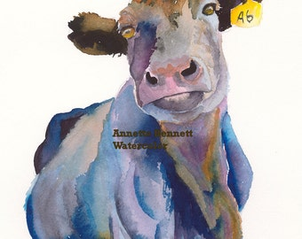 angus cow canvas wall decor cow wall art farm art canvas print watercolor cow cow painting cow art  cow canvas  ranch art cow watercolor