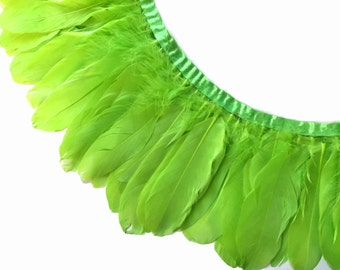 Goose Feather Trim, 1 Yard - LIME GREEN Goose Nagoire and Satinettes Feather Trim  : 3197