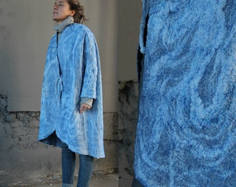 Women coat,oversized , wearable art, nuno felted coat, designer coat, Hand made, felted jacket, eco-fashion, wool Coat , warm coat, clothing