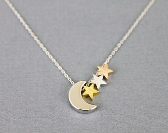 Silver Moon and Tiny 3 Stars Pendant Necklace Simple and Modern Necklace  Dainty Necklace . Gift for Friends . Tiny Charm Necklace