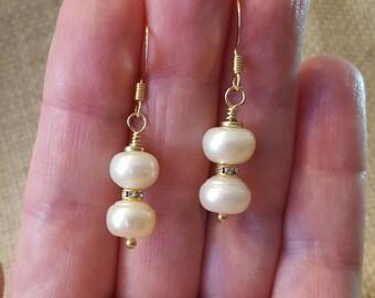 Freshwater Pearls Gold Dangle Earrings